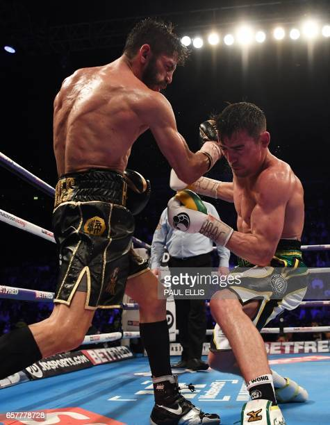 Venezuela's Jorge Linares connects en route to a unanimous decision victory over England's Anthony Crolla in their WBA WBC Diamond Ring Magazine...