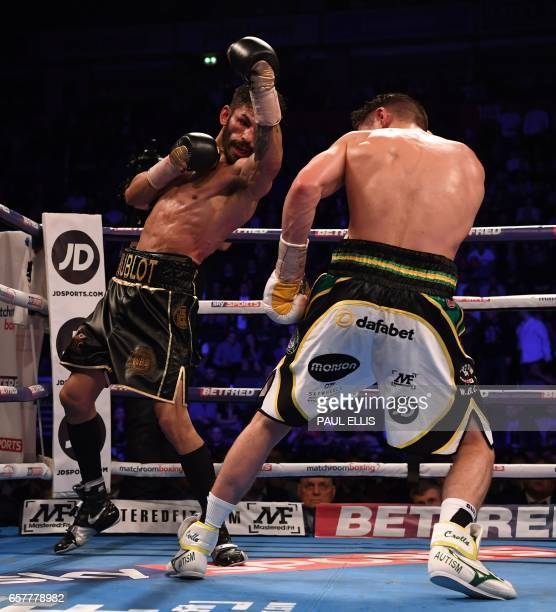 Venezuela's Jorge Linares defends en route to a unanimous decision victory over England's Anthony Crolla in their WBA WBC Diamond Ring Magazine...