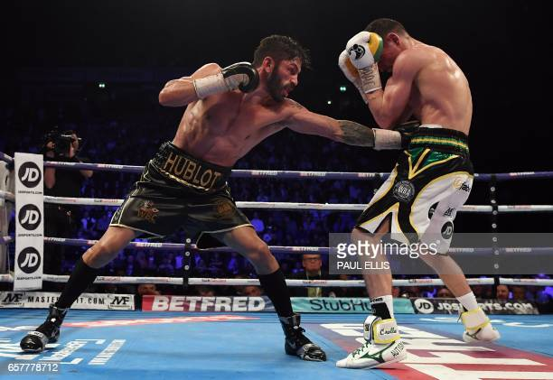 Venezuela's Jorge Linares goes on the offensive en route to a unanimous decision victory over England's Anthony Crolla in their WBA WBC Diamond Ring...