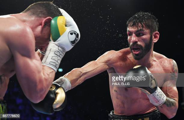 Venezuela's Jorge Linares goes on the offensive en route to a unanimous decision victory against England's Anthony Crolla in their WBA WBC Diamond...