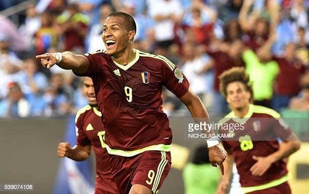 Venezuela's Jose Salomon Rondon celebrates after scoring against Uruguay during the Copa America Centenario football tournament in Philadelphia...