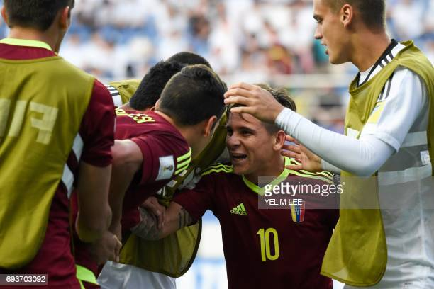 Venezuela's midfielder Yeferson Soteldo celebrates a goal with teammates during the U20 World Cup semifinal football match between Uruguay and...