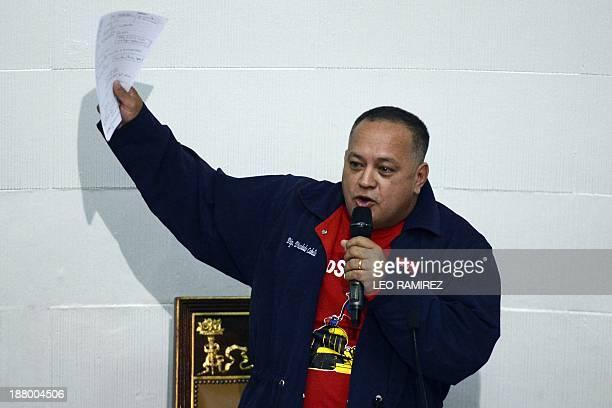 Venezuela's National Assembly president Diosdado Cabello speaks as the legislature debates on a measure that would give Venezuelan President Nicolas...