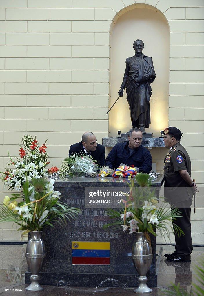 Venezuela's National Assemby President Diosdado Cabello (C) attends a ceremony three months after Hugo Chavez's death, at the Cuartel de la Montana in Caracas, on June 5, 2013.