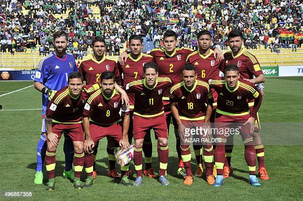Venezuela's national team poses for a picture before their Russia 2018 FIFA World Cup South American Qualifiers football match in La Paz on November...