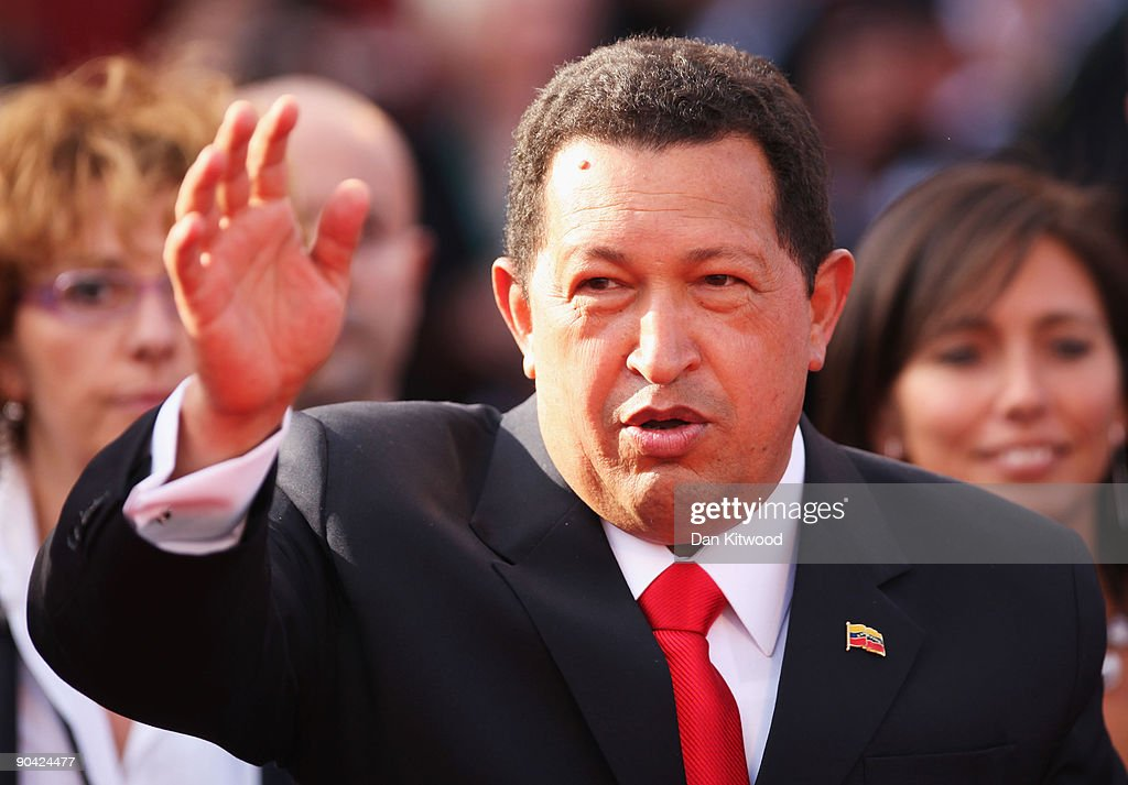 Venezuela's President <a gi-track='captionPersonalityLinkClicked' href=/galleries/search?phrase=Hugo+Chavez&family=editorial&specificpeople=171094 ng-click='$event.stopPropagation()'>Hugo Chavez</a> attends the 'South Of The Border' premiere at the Sala Grande during the 66th Venice Film Festival on September 7, 2009 in Venice, Italy.