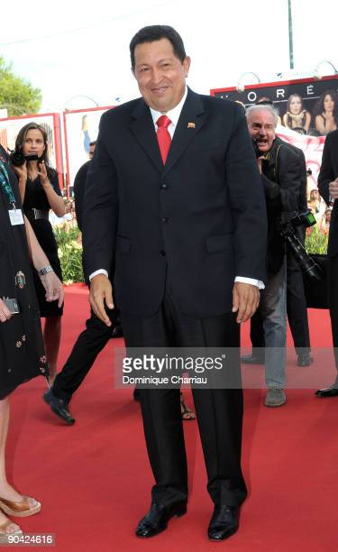 Venezuela's President Hugo Chavez attends the 'South Of The Border' premiere at the Sala Grande during the 66th Venice Film Festival on September 7...