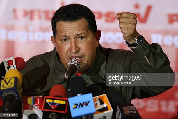 Venezuela's President Hugo Chavez speaks during a press conference after municipal election results were announced in Caracas on November 24 2008...