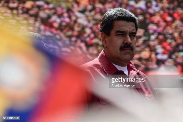 Venezuela's President Nicolas Maduro attends a rally supporting him and opposing US President Donald Trump in Caracas on August 14 2017