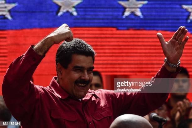 Venezuela's President Nicolas Maduro gestures during a rally supporting Maduro and opposing US President Donald Trump in Caracas on August 14 2017