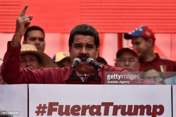 Venezuela's President Nicolas Maduro speaks during a rally supporting him and opposing US President Donald Trump in Caracas on August 14 2017