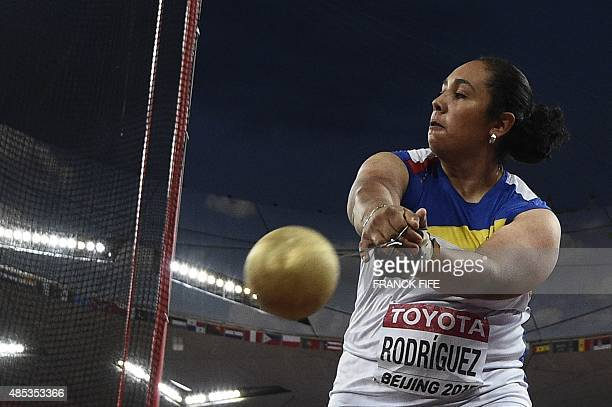 Venezuela's Rosa Rodriguez competes in the final of the women's hammer throw athletics event at the 2015 IAAF World Championships at the 'Bird's...