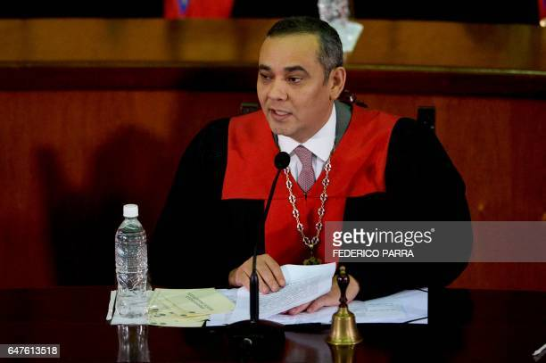 Venezuela's Supreme Court President Maikel Moreno speaks during the ceremony in which Venezuela's Vice President Tareck El Aissami will review his...