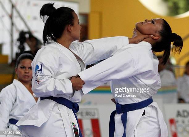 Venezuela's team compete in women's team kata finals as part of the XVII Bolivarian Games Trujillo 2013 at San Jose Obrero School on November 27 2013...