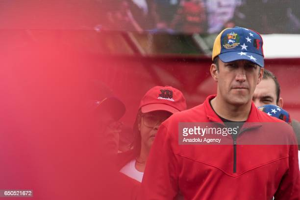 Venezuela's Vice Presdident Tareck El Aissami is seen as progovernment demonstrators hold a rally in Caracas Venezuela on March 9 2017