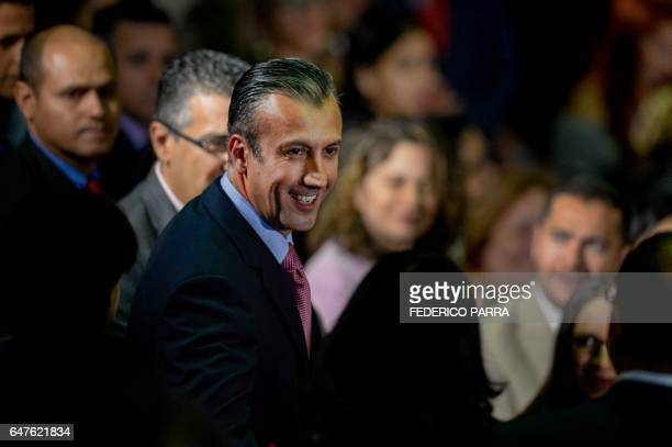 Venezuela's Vice President Tareck El Aissami arrives to present the review of his year in office at the Supreme Court of Justice in Caracas on March...