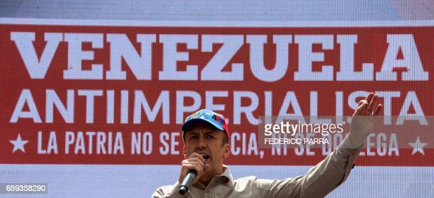 Venezuela's Vice President Tareck El Aissami delivers a speech during a rally against the secretary general of the Organization of American States...