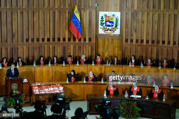 Venezuela's Vice President Tareck El Aissami delivers a speech reviewing his year in office at the Supreme Court of Justice in Caracas on March 3...