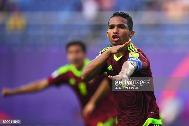 Venezuela's Yangel Herrera celebrates his goal during their U20 World Cup round of 16 football match between Venezuela and Japan in Daejeon on May 30...