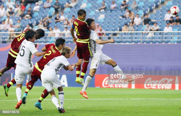 Venezuela's Yangel Herrera heads the goal during extra time to beat Japan 10 in an Under20 World Cup round of 16 match in Daejeon South Korea on May...