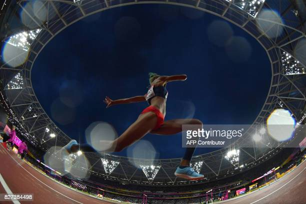 Venezuela's Yulimar Rojas competes in the final of the women's triple jump athletics event at the 2017 IAAF World Championships at the London Stadium...