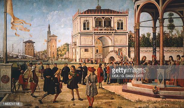 Venice Accademia Stories of St Ursula the Ambassadors Return to the English Court by Vittore Carpaccio oil on canvas 297x527 cm Detail