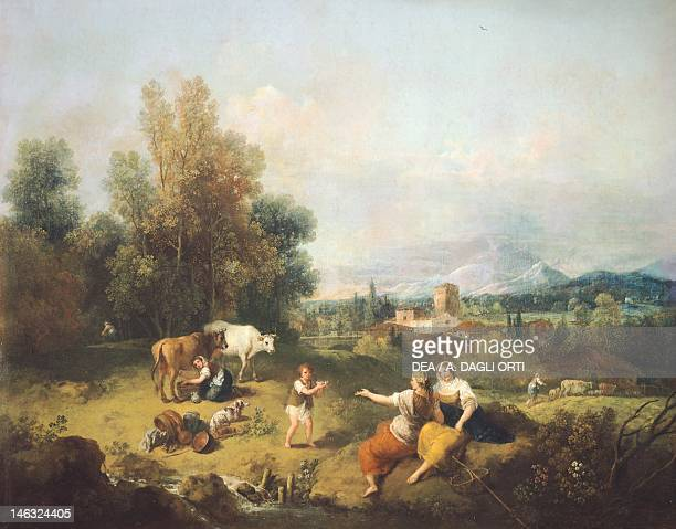 Venice Ca' Rezzonico Landscape with young shepherdesses by Francesco Zuccarelli