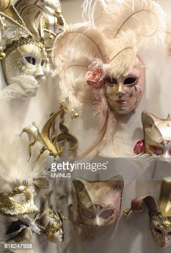 Venice Carnival Mask Close Up Scenery In Italy Europe : Stock Photo