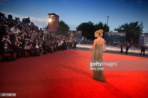 Venice Film Festival 2005 the Lido Venice Sienna Miller on the red carpet for the film premier of Cassanova wearing a pale blue chiffon...