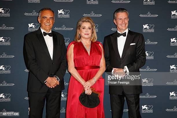 Venice Film Festival Director Alberto Barbera actress Catherine Deneuve and JaegerLeCoultre Ceo Daniel Riedo attend the JaegerLeCoultre gala event...