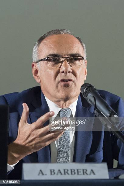 Venice Film Festival's director Alberto Barbera attends the press conference of 74th International Cinematic Art Exhibition of Venice at The Space...