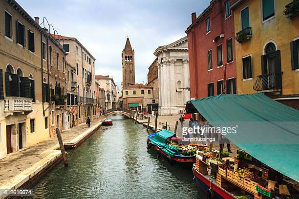 Venice: Floating Market on Dorsoduro Canal, Bell Tower in Distance