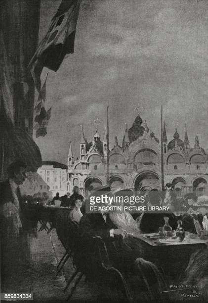 Venice in the dark escaping pittfalls and enemy areas Cafe Florian St Mark's Square Italy World War I drawing by Rodolfo Paoletti from...