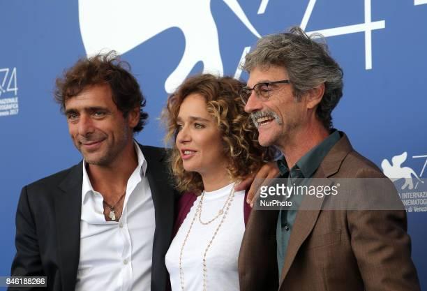 Adriano Giannini Valeria Golino and Silvio Soldini attends the 'Emma ' photocall during the 74th Venice Film Festival