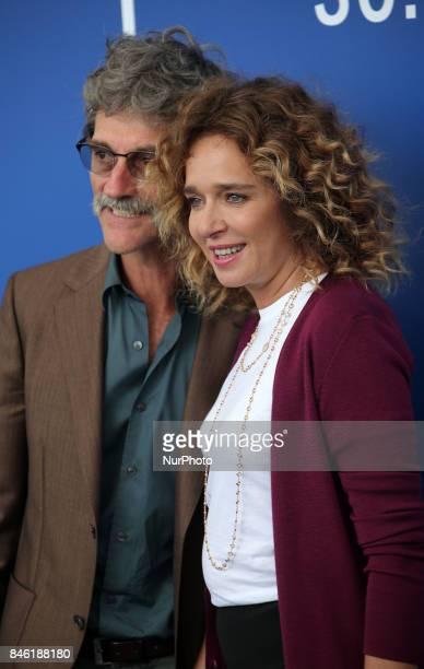 Valeria Golino and Silvio Soldini attends the 'Emma ' photocall during the 74th Venice Film Festival