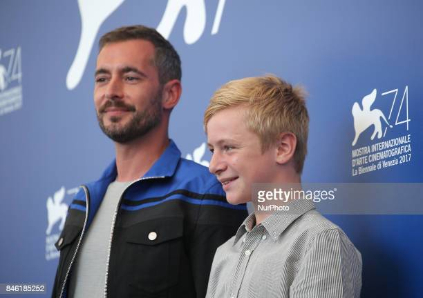 Venice Italy 08 September 2017 Thomas Gioria and Xavier Legrand and Mathilde Auneveux attends the photocall of the movie 'Jusqu' la Garde' presented...