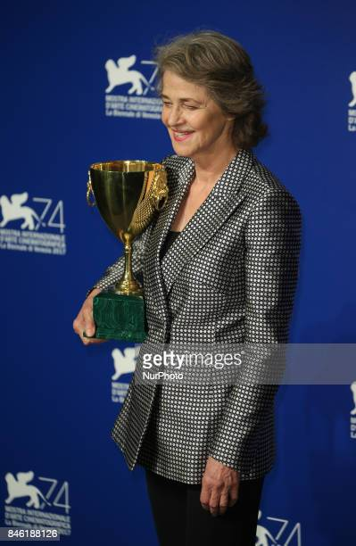 Venice Italy 09 September 2017 Charlotte Rampling poses with the Coppa Volpi for Best Actress Award for 'Hannah' at the Award Winners photocall...