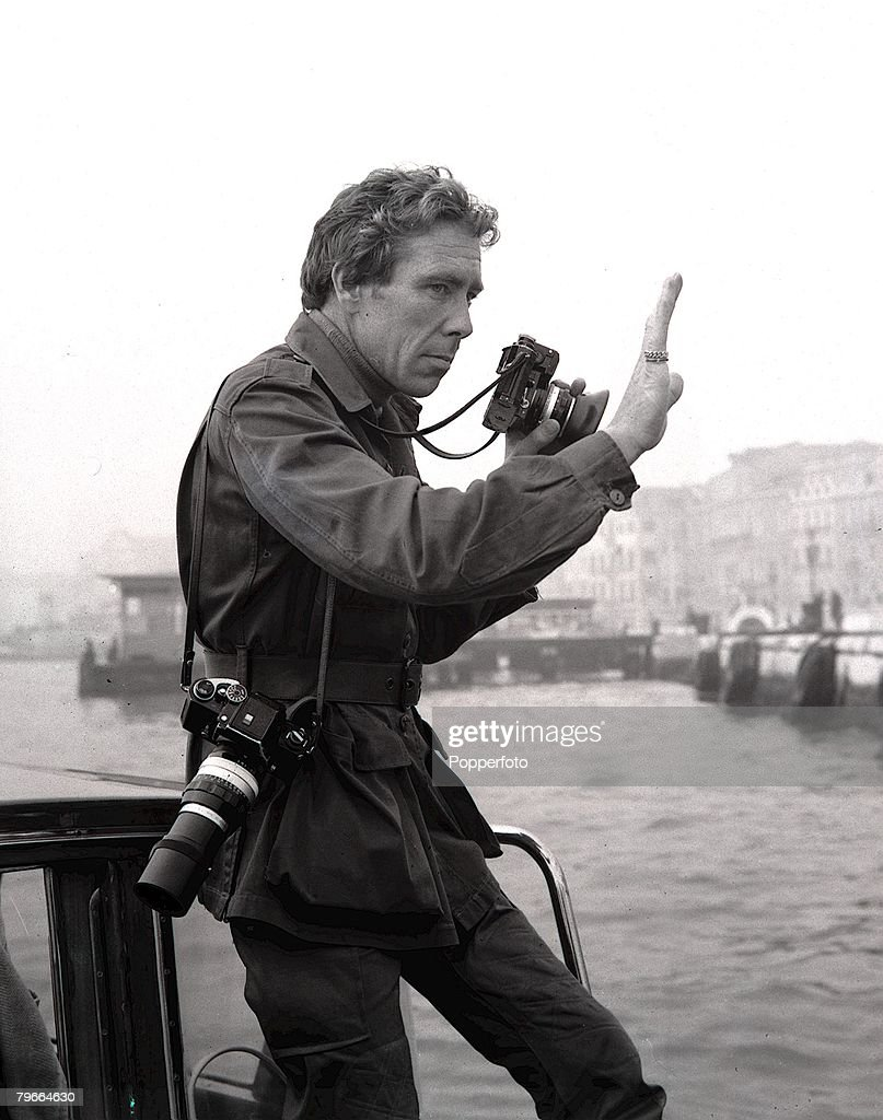 Venice, Italy, 14th October 1971, Photographer Lord Snowdon, husband of Princess Margaret, pictured at work in Venice