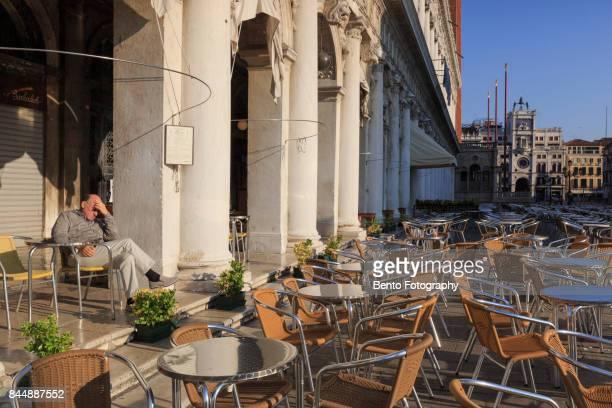 22/07/2017 Venice, Italy : An old venetian man sitting in venice city, Italy