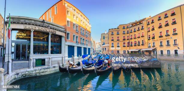 22/07/2017 Venice, Italy : Group of Gondola floating in front of Hard rock hotel