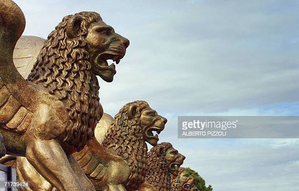 The Golden Lion scupture are pictured in front of the cinema palace on the eve of the opening ceremony of the 63th Venice International Film Festival...
