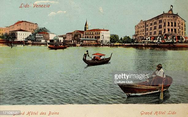 Venice Lido Grand Hotel Lido Gondola water Postcard Garbisa Venice