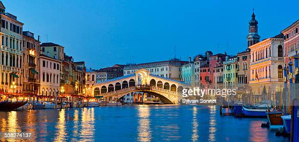 Venice, Rialto Bridge and Grand Canal at Night