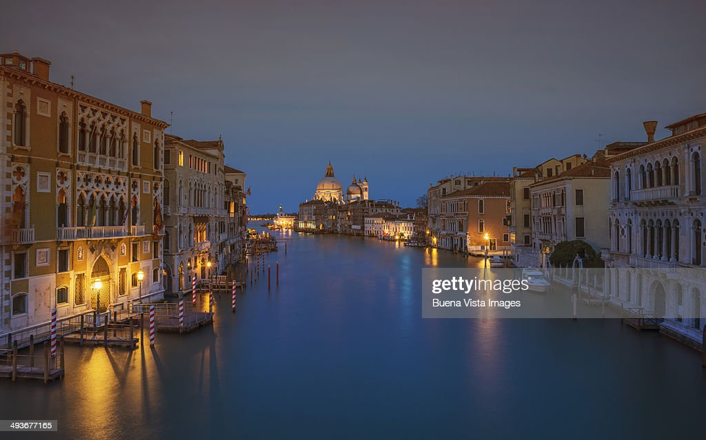 Venice, The Grand Canal at dusk : Stock Photo