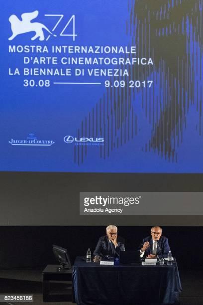 Venice's Biennale President Paolo Baratta and Venice Film Festival's director Alberto Barbera attend the press conference of presentation of 74th...