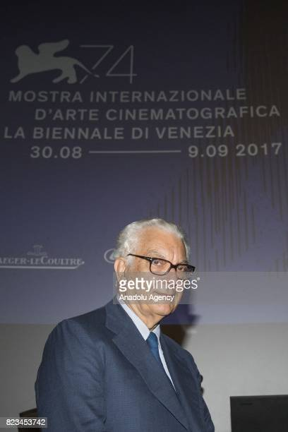 Venice's Biennale President Paolo Baratta attends the press conference of 74th International Cinematic Art Exhibition of Venice at The Space Moderno...