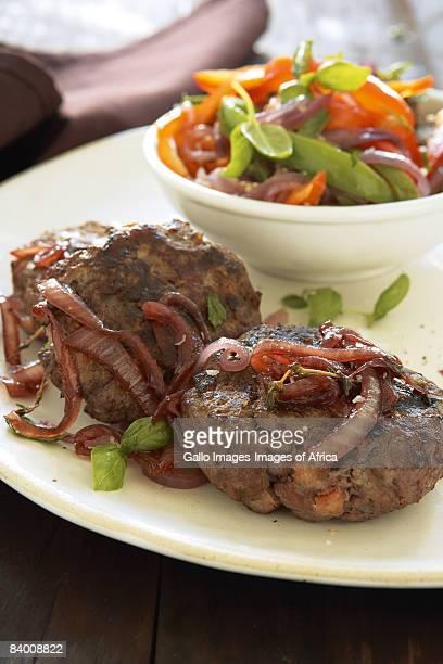 Venison patties, caramalised onions & ratatouille