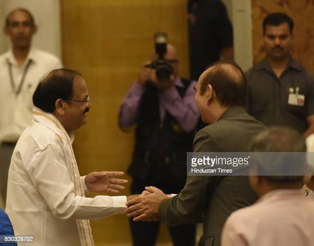 Venkaiah Naidu meet with Leader of opposition in Rajya Sabha Ghulam Nabi Azad during the 13th VicePresident of India sworn ceremony by M Venkaiah...