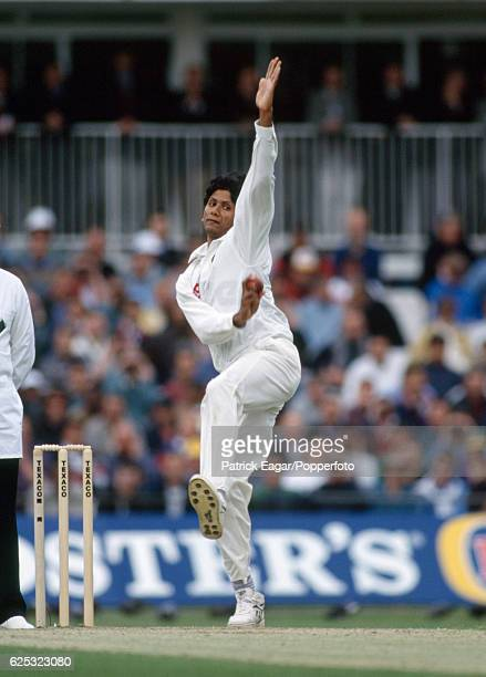 Venkatesh Prasad bowling for India during the 1st Texaco Trophy One Day International between England and India at The Oval London 23rd May 1996