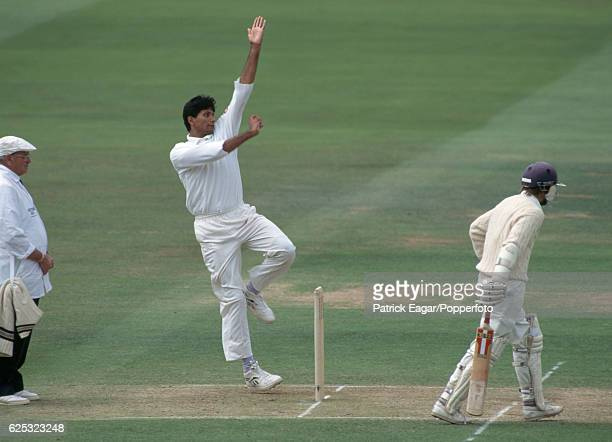 Venkatesh Prasad bowling for India during the 2nd Test match between England and India at Lord's Cricket Ground London 20th June 1990 The batsman for...